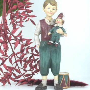 Dekofigur Clayre & Eef Jungen Figur mit Clown Puppe