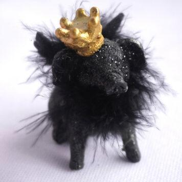 Dekofigur Schutzengel Schwein Glücksschwein Black Federn
