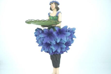 Dekofigur Teelichthalter Kerzenhalter Blumenmädchen Kornblumenmädchen