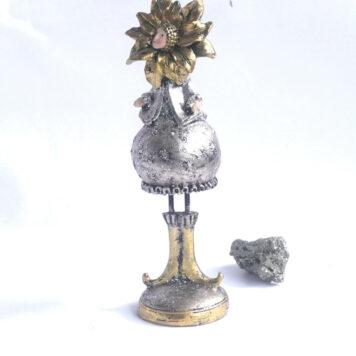 Dekofigur Blumenmädchen Weihnachts Elfe Silber Gold 21cm