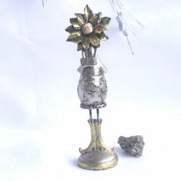 Dekofigur Blumenmädchen Weihnachts Elfe Silber Gold 24cm