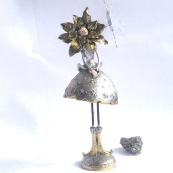 Dekofigur Blumenmädchen Weihnachts Elfe Silber Gold 27cm