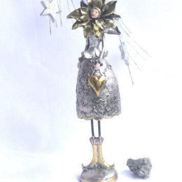 Dekofigur Blumenmädchen Weihnachts Elfe Silber Gold 30cm